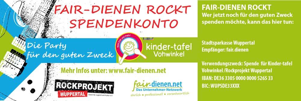 Das Unternehmernetzwerk fair-dienen. Soziales Engagement für die Kindertafel und das Rockprojekt Wuppertal. Helfende Unternehmer und Unternehmerinnen aus Remscheid und Solingen.